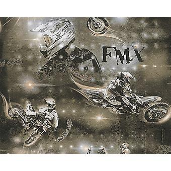 Black Brown Beige Moto Wallpaper Motocross Children-apos;s Room A.S Creation