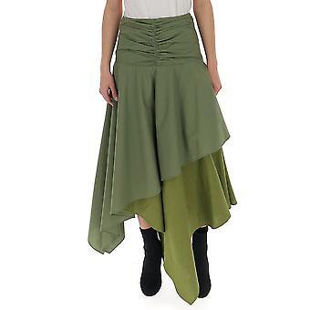 Loewe S2195230fa4160 Frauen's grüner Baumwollrock