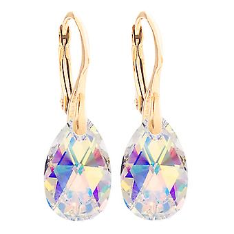 Ah! Jewellery Aurore Boreale Pear Crystals From Swarovski Earrings, Sterling Silver