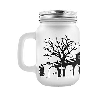Grindstore Necropolis Church Silhouette Frosted Mason Jar