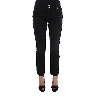 Black cotton slouchy slims fit jeans