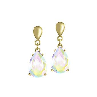 Eeuwige collectie verleiding Teardrop Aurora Borealis Crystal Gold Tone Drop doorboord oorbellen