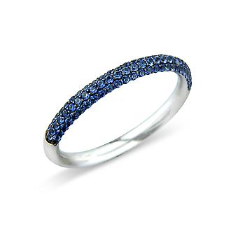 Jewelco London 18ct White Gold Blue Sapphire Pave-set Eternity Wedding Ring - 2.4mm