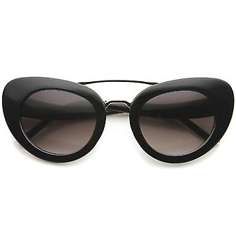 Women's Metal Crossbar Curved Temples Bold Mod Cat Eye Sunglasses 49mm