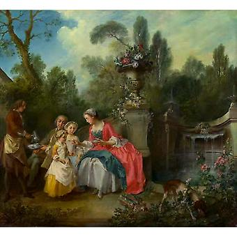 A Lady in a Garden Taking coffee with,Nicolas Lancret,50x46cm