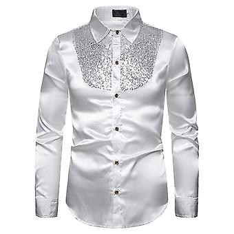 Allthemen Men's Shirt Four Seasons Sequin Spliced Long Sleeve Shirt