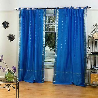 Incantevole la cravatta blu Top Sari pura tenda / drappo / pannello - pezzo