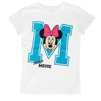 Minnie Mouse Glitter M Youth Girls 7-16 White T-Shirt