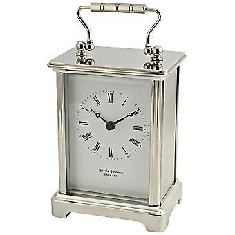 David Peterson Chrome Obis Quartz Carriage Clock - Silver