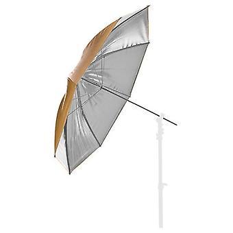 BRESSER SM-21 reflekterande paraply silver/guld 110cm utbytbara