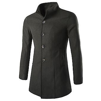 Allthemen Men's Stand Collar Single-Breasted Mid-Long Casual Overcoat