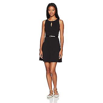 A. Byer Women-apos;s Sleeveless Fit and Flare Belted Dress, Noir, 13