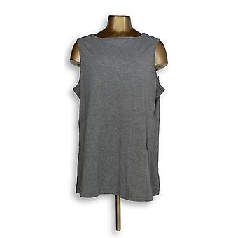 Anybody Women's Plus Top Cozy Knit Swing Peplum Sleeveless Gray A289830