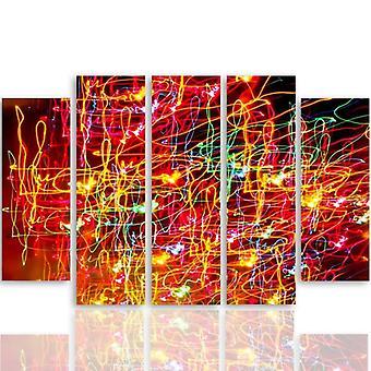 Vijf deel foto op canvas, Pentaptych, type B, abstractie 10
