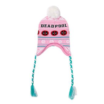 Deadpool Beanie Laplander Angry face Logo Christmas new Official Marvel Pink