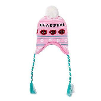 Deadpool Beanie Laplander Zły twarz Logo Boże Narodzenie nowy dziennik Marvel Pink