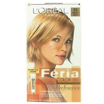 L'Oreal Feria 3D Iridescent Blonde 92 Permanent Gel Colourant TRIPLE PACK