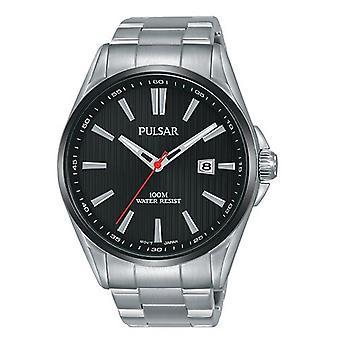 Pulsar Regular Quartz Black Dial Silver Stainless Steel Men's Watch PS9605X1