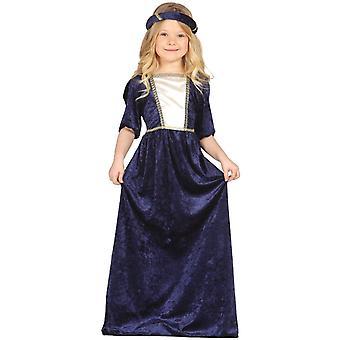 Meisjes blauw middeleeuwse Lady Fancy Dress kostuum