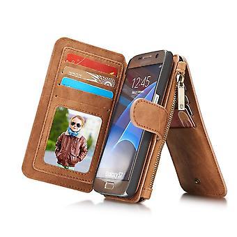 Case For Samsung Galaxy S7 Multifunction Portfolio Marron- Caseme