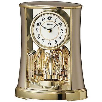 Seiko Mantel Clock with Rotating Pendulum - Gold Finish