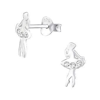 W32057x--ترصيع الإذن كريستال فضة 925-راقصة البالية