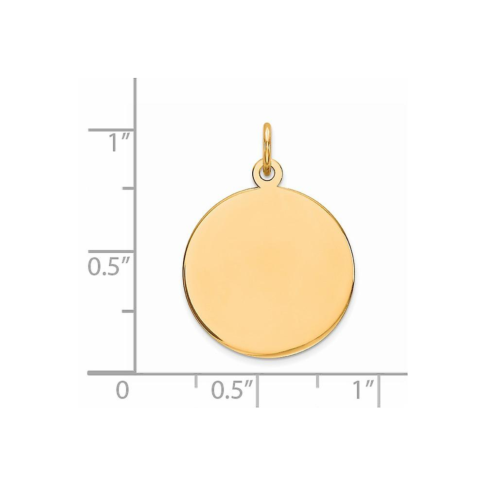 19mm 925 Sterling Silver Gp Engraveable Round Polished Disc Charm Pendant Necklace Jewelry Gifts for Women