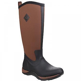 Muck Boots Ladies Arctic Adventure Black + Tan Pull On Fleece Lined Wellington Boots