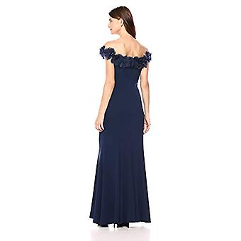 Alex Evenings Women's Long Fit and Flare Off-The-Shoulder, Bright Navy, Size 8.0