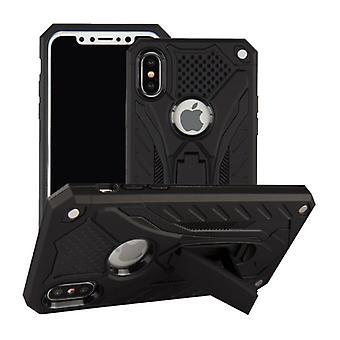 Stoff zertifiziert® X iPhone - Militärische Rüstung Fall Abdeckung Cas TPU Fall schwarz + Kickstand