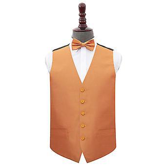 Turmeric Yellow Plain Shantung Wedding Waistcoat & Bow Tie Set