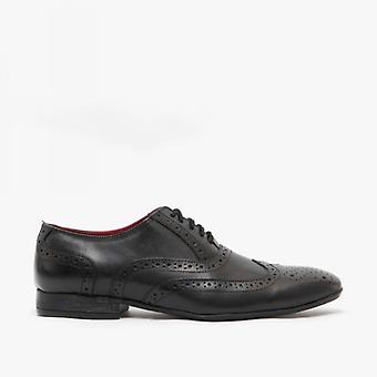 Route 21 Pierce Mens Leather Oxford Brogues Black