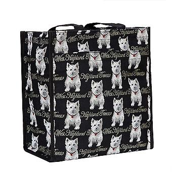 Westie reusable shopper bag by signare tapestry / shop-wes