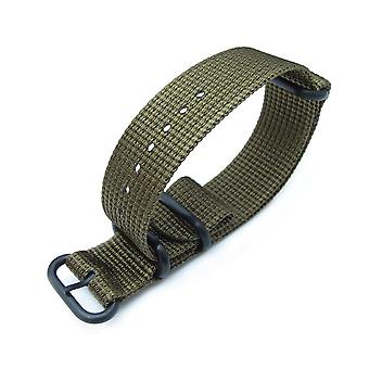 Strapcode n.a.t.o watch strap miltat 20mm, 22mm or 24mm 3 rings zulu military watch strap 3d woven nylon armband - military green, pvd black hardware