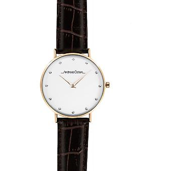 Watch Andreas Osten AO-25 - Leather Watch Brown Bo tier Dor Rose Mixed