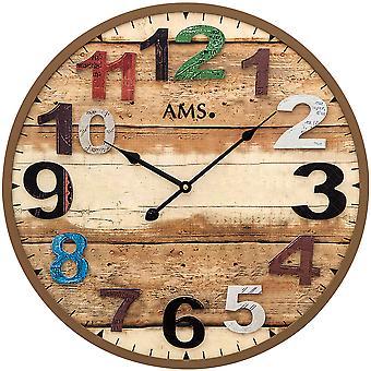 AMS 9539 wall kellon kvartsi analoginen ruskea pyöreä antiikki vintage retro nuhjuinen