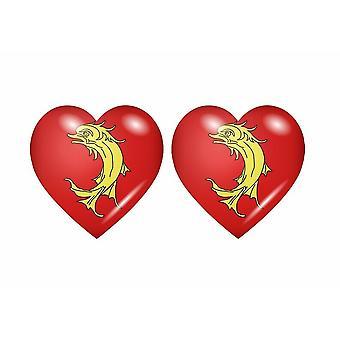 2x Stick klistermärke flagga hjärta avdelning loire