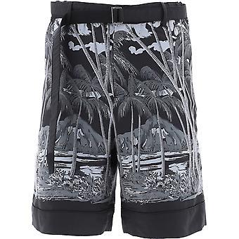 Sacai 02195mblk Men's Black Polyester Shorts