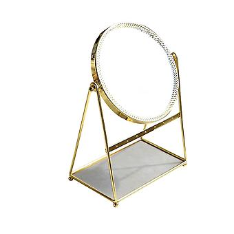 The gold frame can accommodate a single-sided jewelry mirror Upgraded makeup round mirror