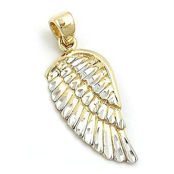 Diamant d'ailes d'ange de 21 x 9, 5 mm bicolore rhodiée remorques coupé or 9Kt