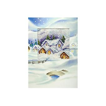 Orchidea Printed Cross Stitch Card Kit - Snowy Christmas Village