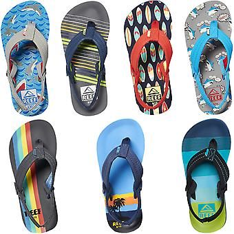Reef Little Ahi Kids Boys Summer Beach Holiday Pool Slip On Flip Flops Sandals