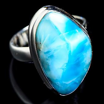 Larimar Ring Size 5.75 (925 Sterling Silver)  - Handmade Boho Vintage Jewelry RING4752