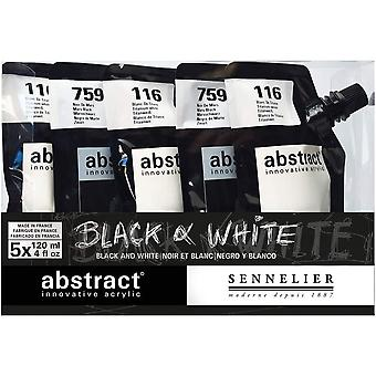 Sennelier Abstract Acrylic Black & White Set 5 x 120ml