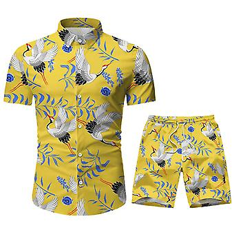 Allthemen Men's Lapel Printed Short-Sleeved Shirt Sasual Two-Piece Set