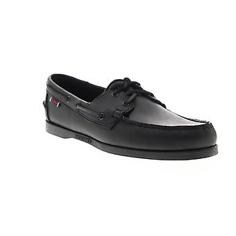 Sebago Portland Mens Black Wide 2E Loafers & Slip Ons Boat Schoenen