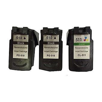 Remanufactured Value Pack 2x PG510 Schwarz und 1x CL511 Farbe Neuer Chip