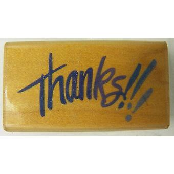Stampendous Wooden Mounted Rubber Stamp - Thanks!!!