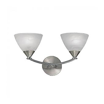 Meridian Brushed Nickel Wall Light 2 Bulbs