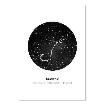 Art Canvas Poster - Minimalist Geometric Painting On Which   Astrology Sign Prints